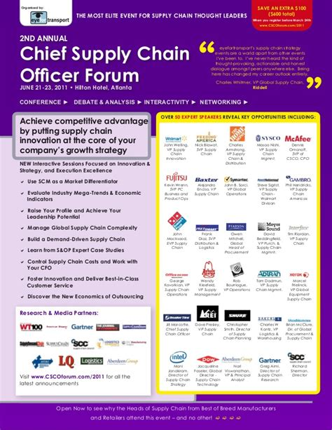 Officer Forum by Chief Supply Chain Officer Forum June 21 23 2011