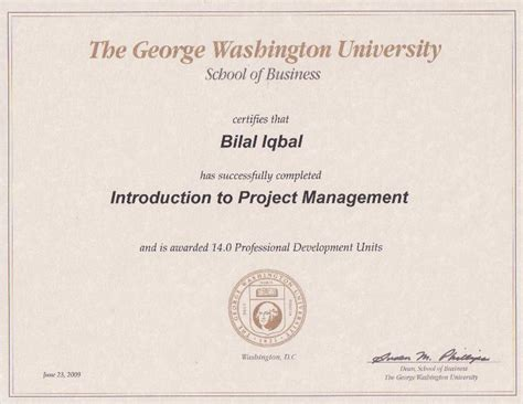 Mba In Environmental Management George Washington by Portfolio Bilal Iqbal Mba Pmp Pmi Acp Lssbb Csm Ccp