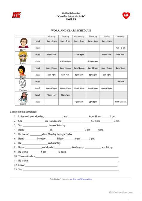 printable schedule worksheet counting number worksheets 187 time schedule worksheets