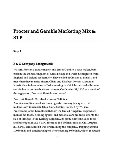 Procter And Gamble Mba Leadership Program by Marketing Management Report On Procter And Gamble Co