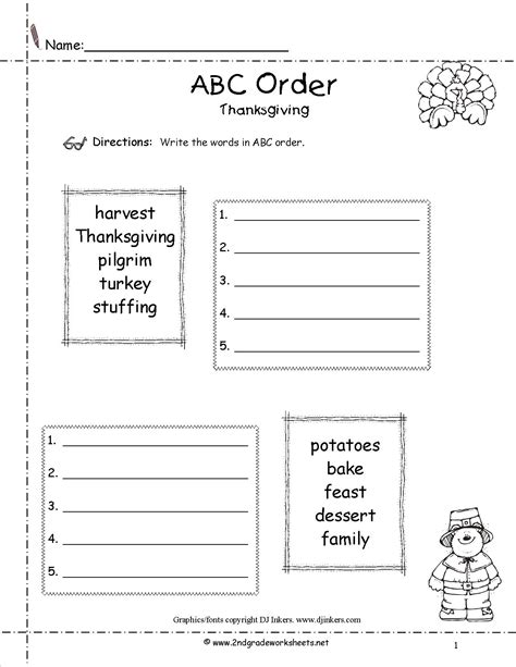 make your own abc order worksheet thanksgiving printouts and worksheets