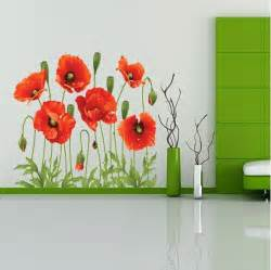 cheap wall murals and decals big discount red poppy removable wall decals home decor