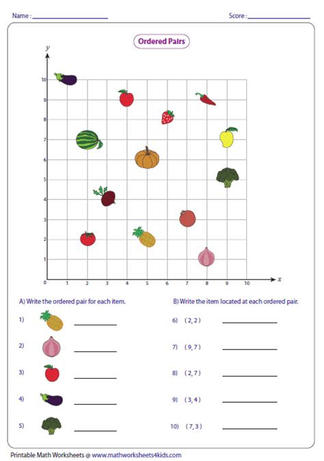 Grid Worksheets by Ordered Pairs And Coordinate Plane Worksheets
