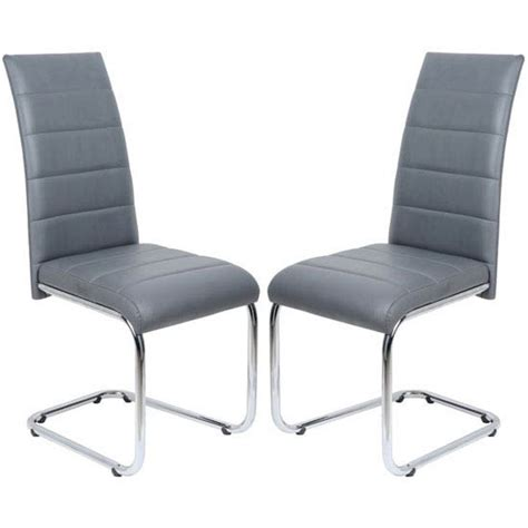 daryl dining chair in grey pu leather in a pair 23696