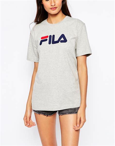 Hoodie Sweater Grey Front Logo lyst fila oversized boyfriend t shirt with front logo in gray