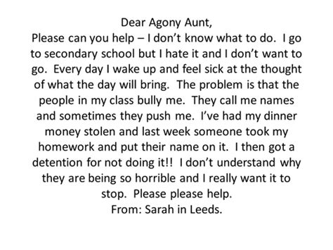 Agony Letters And Replies Ks2