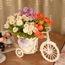 artificial flower decoration for home 2014 new artificial flower silks flowers daisy bicycle