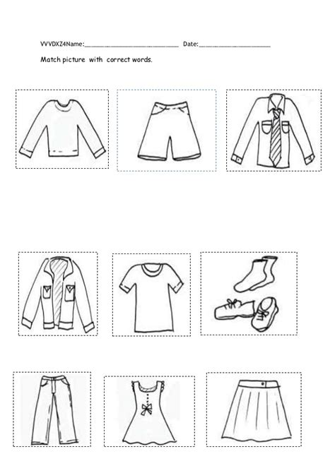 clothes matching worksheets clothes worksheet