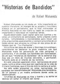 Historias de bandidos - Memoria Chilena, Biblioteca