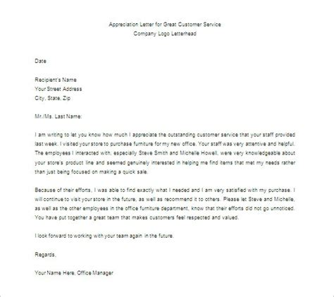 appreciation letter model format letter of appreciation gplusnick