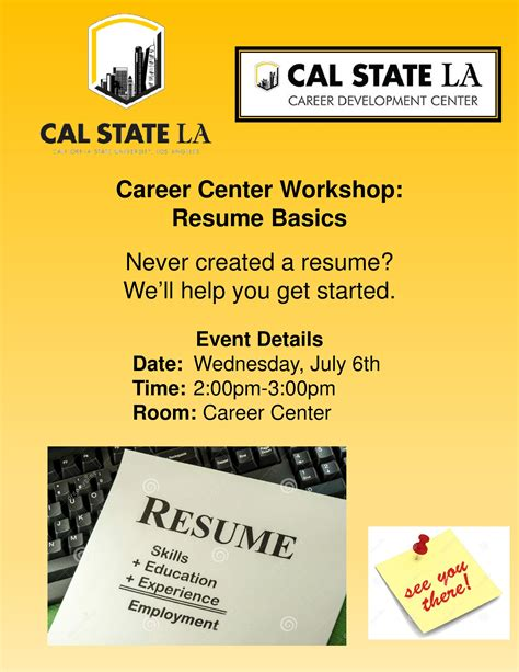 Career Center Resume by Career Center Workshop Resume Basics Cal State La
