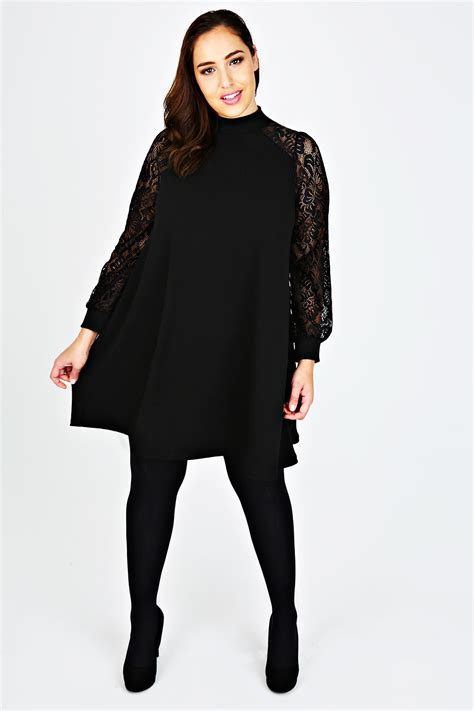 size 16 swing dress black high neck swing dress with lace long sleeves plus