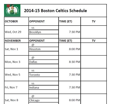 printable schedule for boston celtics printable boston celtics schedule 2014 15