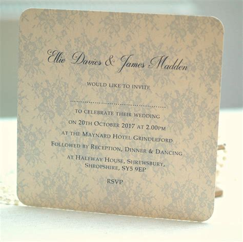 not on the high elegance wedding invitation lace wedding invitation by beautiful day notonthehighstreet
