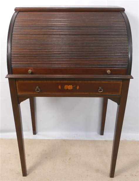 Ladies Edwardian Inlaid Mahogany Tambour Rollfront Small