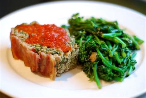 seriously tasty paleo meatloaf recipe dishmaps super porktastic bacon topped spinach and mushroom