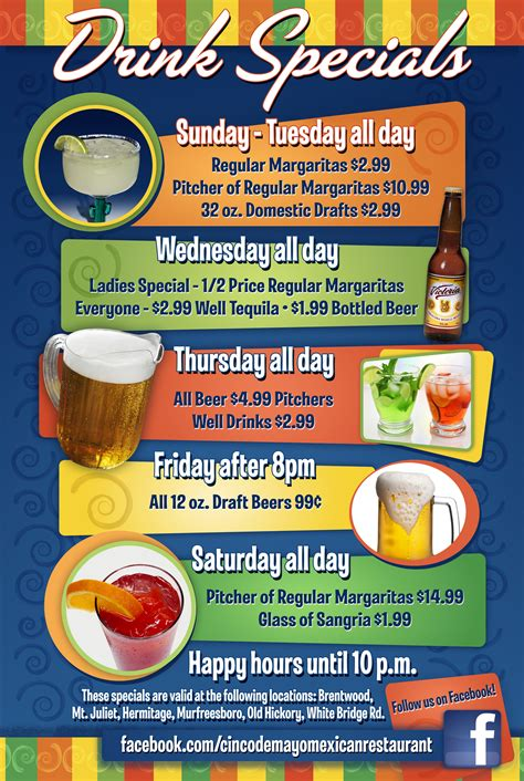 restaurant specials cinco de mayo mexican restaurant drink specials