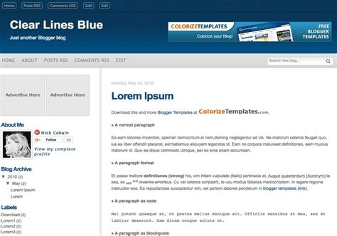 blog themes with ad space clear lines blue blogger template 2014 free download