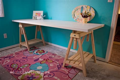 diy sawhorse desk white adjustable height sawhorses diy projects