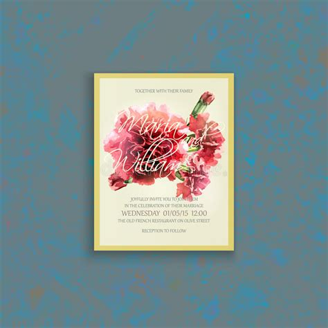 wedding invitation card suite with flower templates invitation wedding card with watercolor carnation stock