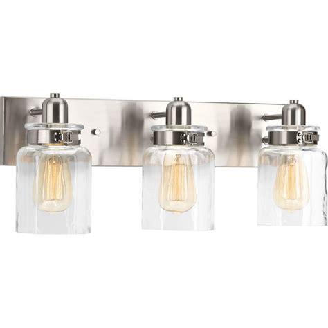 gallego 3 light glass shade vanity light progress lighting calhoun collection 3 light brushed