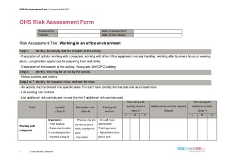 ohs risk assessment template ohs risk assessment form