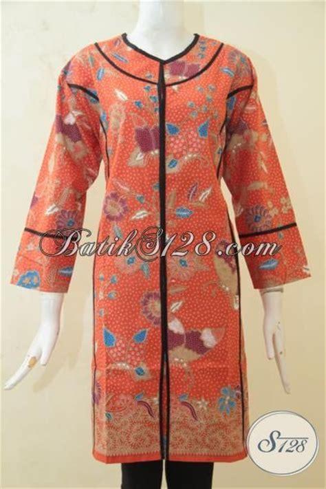 desain baju batik hitam baju batik santai wanita warna orange dress batik