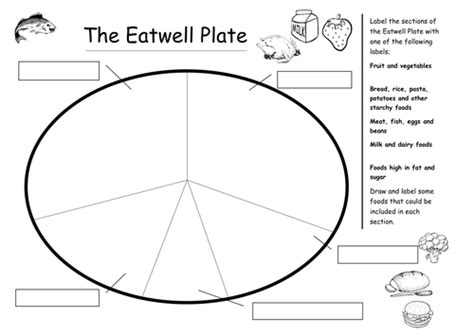 food wheel template the eatwell plate by plesters teaching resources tes