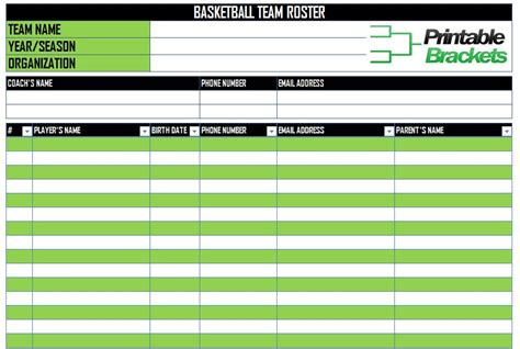 roster lineup sheets printable