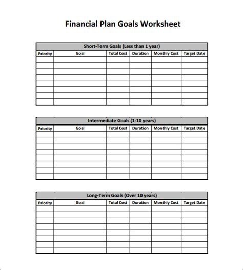 financial plan templates 10 free word excel pdf
