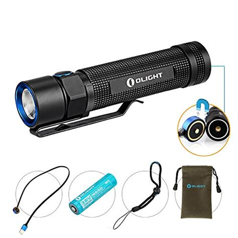 le torche avec batterie rechargeable olight s2r baton le torche rechargeable puissante led cree 1020 lumens avec batterie 18650