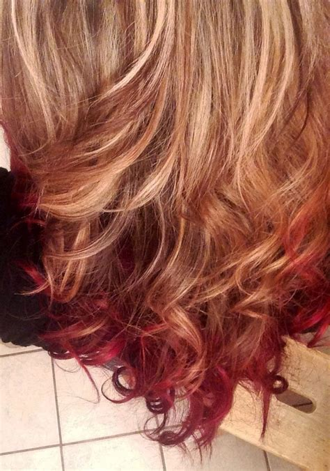 pictures of dirty blonde hair with ombre ombre hair blonde to velvet red w low highlights