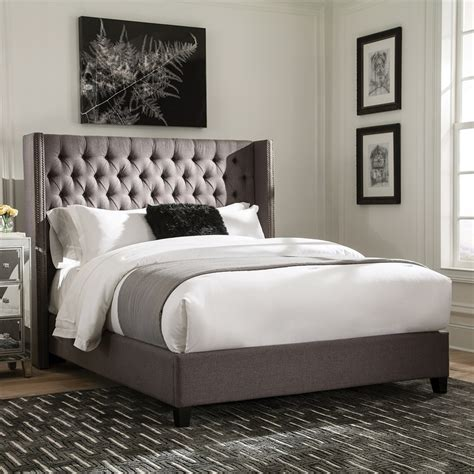 High Up Bed Frames Shop Living Grey King Upholstered Bed At Lowes