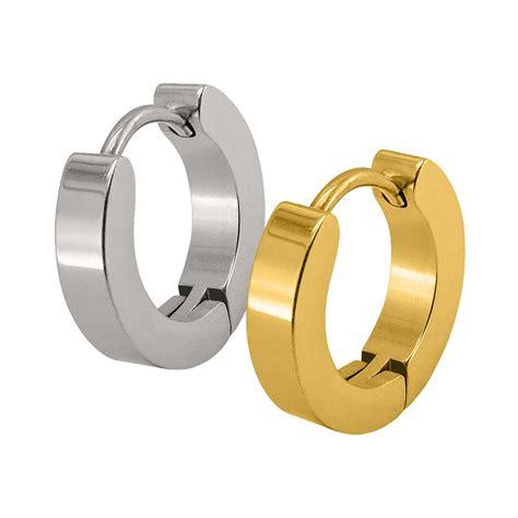 Herren Ohrringe by 2 Creolen Aus Edelstahl M Scharnier Schwarz Silber Gold