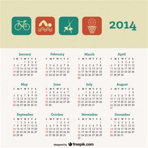 design of calendar 2014 2014 calendar sport concept design vector free download