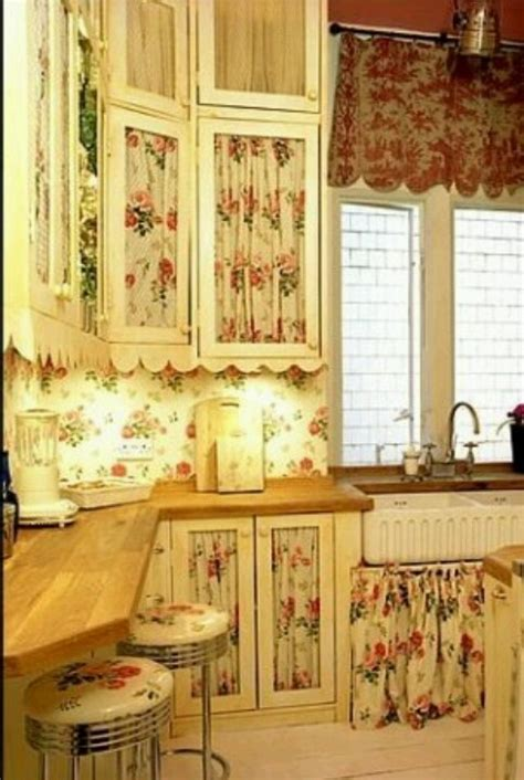 Kitchen Cabinet Curtains Shabby Chic Kitchen Cabinet Curtains More Cabinet Curtains Pinterest Curtains Cottages