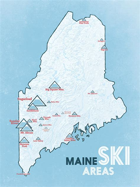Maine Ski Resorts Map | maine ski resorts map 18x24 poster by bestmapsever on etsy