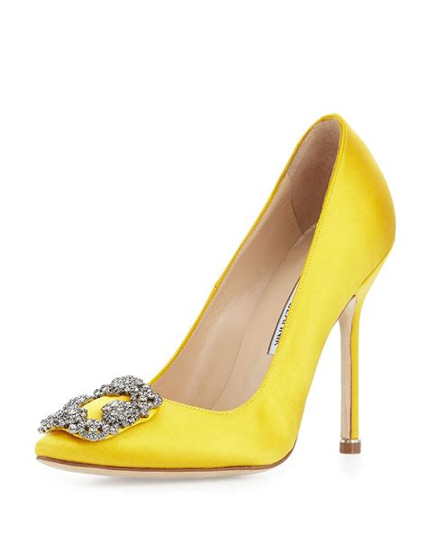 Manolo Blahnik Poppy Heels by Lyst Manolo Blahnik Hangisi Satin Toe In Yellow