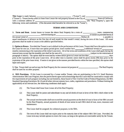 business lease template commercial lease agreement 8 free sles exles