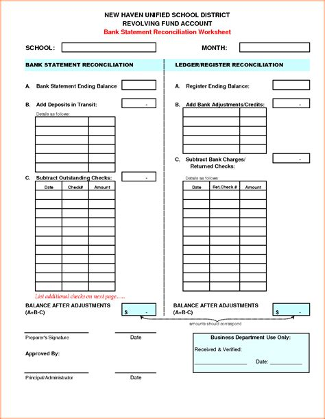 free bank reconciliation template bank reconciliation worksheet worksheets releaseboard
