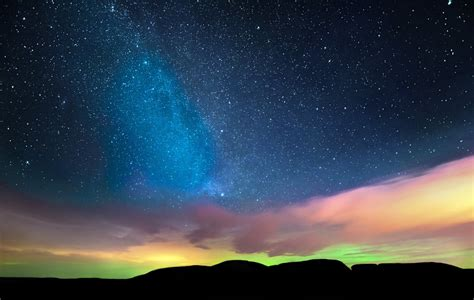northern lights sky star night horizon clouds hd wallpaper