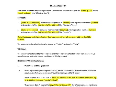 loan agreement template uk template agreements  sample contracts