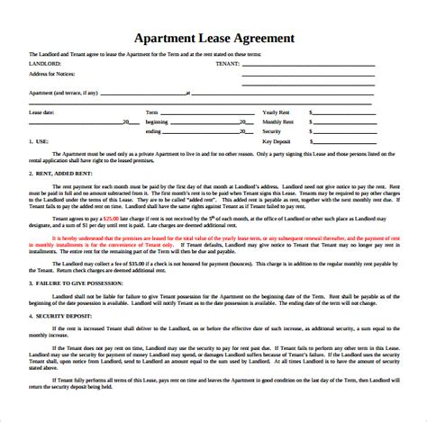 apartment lease agreement template sle apartment rental agreement template 6 free