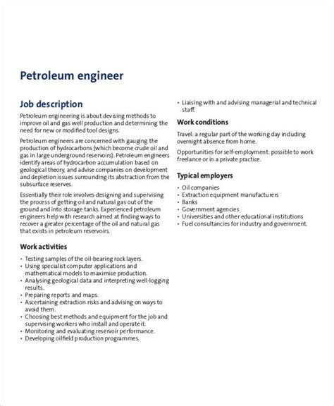 petroleum engineer job description sle 6 exles in