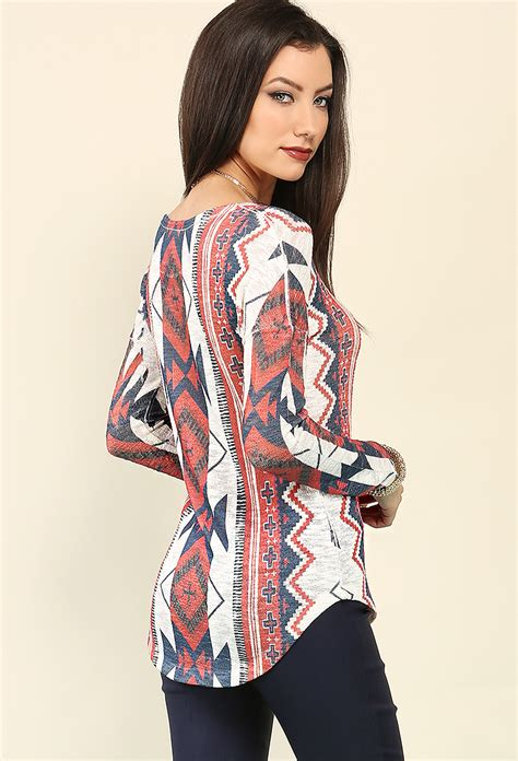 Tribal Pattern Tops | tribal pattern knit top shop tee knit tops at papaya