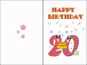 20th birthday cards