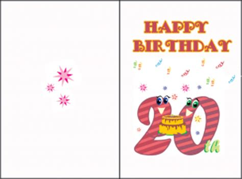 Print Out Birthday Card 20th Birthday Cards