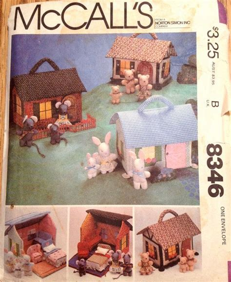 sewing pattern dolls house mccalls 8346 669 1980s miniature fabric doll house and