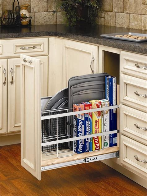 cookie sheet cabinet divider pull out tray divider for cookie sheets pizza pans and