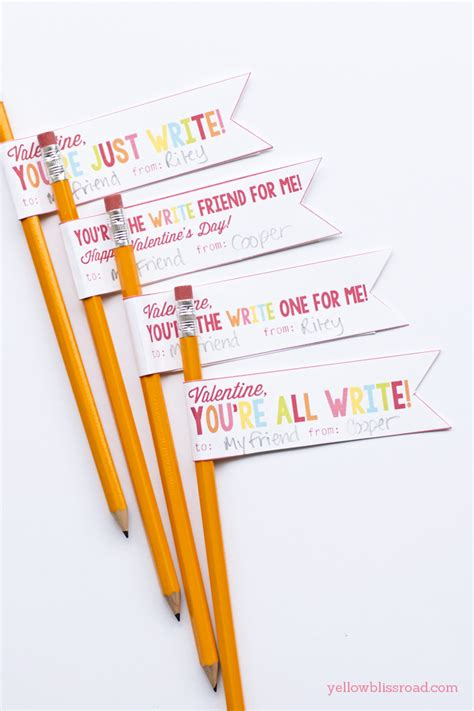 pencil pen gift tags printable back to school free printable pencil valentines yellow bliss road